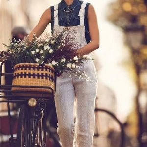 Free People Patchwork eyelet overalls